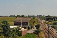 E. View looking towards Neerwinden from the railway bridge south of Laar. The clump of trees in the far distance, to the right, is the same as shown on previous panoramas and the railway track gives a rough demarcation line between the Allied position, to the left, and the French front line at the right. Note that there is no really perceptible high ground discernable. (See both modern and battlefield maps)